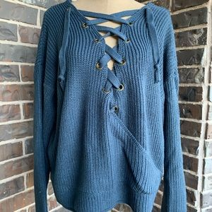 PRICE LOWER Lace Up Chunky Blue Open Back Sweater